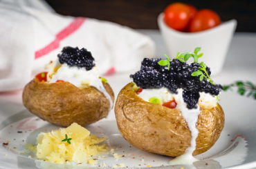 Potatoes with Black Caviar